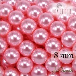 Voskované perly - ESTRELA - ružová sv. 12755, veľkosť 8 mm, 15 ks (č.25)