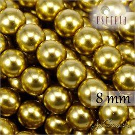Voskované perly - ESTRELA - zlatá 47835, veľkosť 8 mm, 15 ks (č.29)