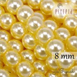 Voskované perly - ESTRELA - žltá sv. 12835, veľkosť 8 mm, 15 ks (č.24)