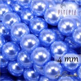 Voskované perly - ESTRELA - modrá sv. 12337, veľkosť 4 mm, 120 ks (č.27)