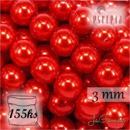 Voskované perly - ESTRELA - červená 12985, veľkosť 3 mm, 155 ks (č.26)