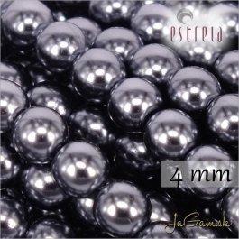 Voskované perly - ESTRELA - šedá hematit 12478, veľkosť 4 mm, 120 ks (č.20)