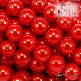 Voskované perly - ESTRELA - červená 12985, veľkosť 12 mm, 8 ks (č.26)