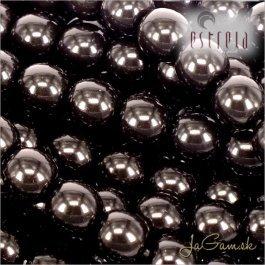 Voskované perly - ESTRELA - čierna 12495, veľkosť 12 mm, 8 ks (č.21)
