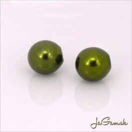 Poldierové voskované perly - ESTRELA -zelená/olivová 17596, 8 mm, 4 ks