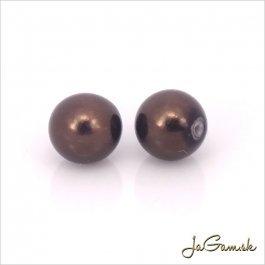 Poldierové voskované perly - ESTRELA - hnedá 12197, 8 mm, 4 ks