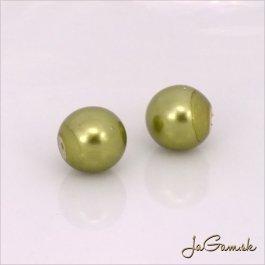 Poldierové voskované perly - ESTRELA - zelená 12565, 8 mm, 4 ks