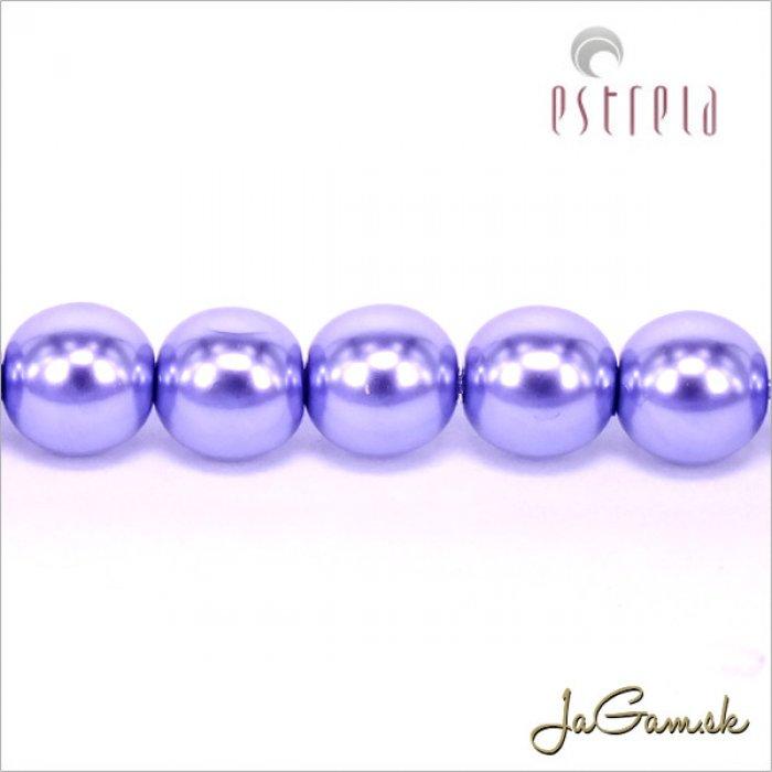 Voskované perly - ESTRELA - fialová svetlá 12235, veľkosť 6 mm, 80 ks (č.12)