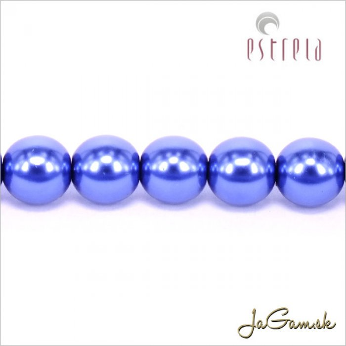 Voskované perly - ESTRELA - modrá 12395, veľkosť 6 mm, 20 ks (č.14)