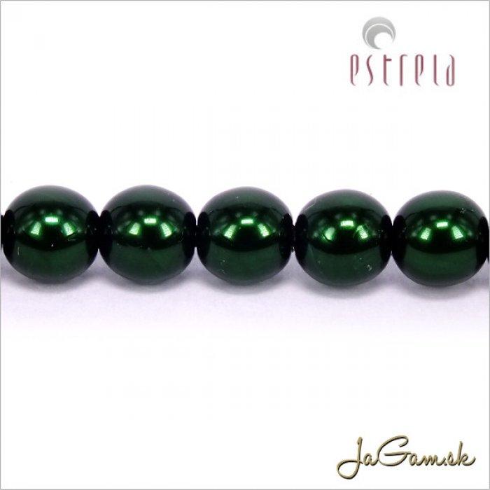 Voskované perly - ESTRELA - zelená tmavá 12588, veľkosť 6 mm, 20 ks (č.18)