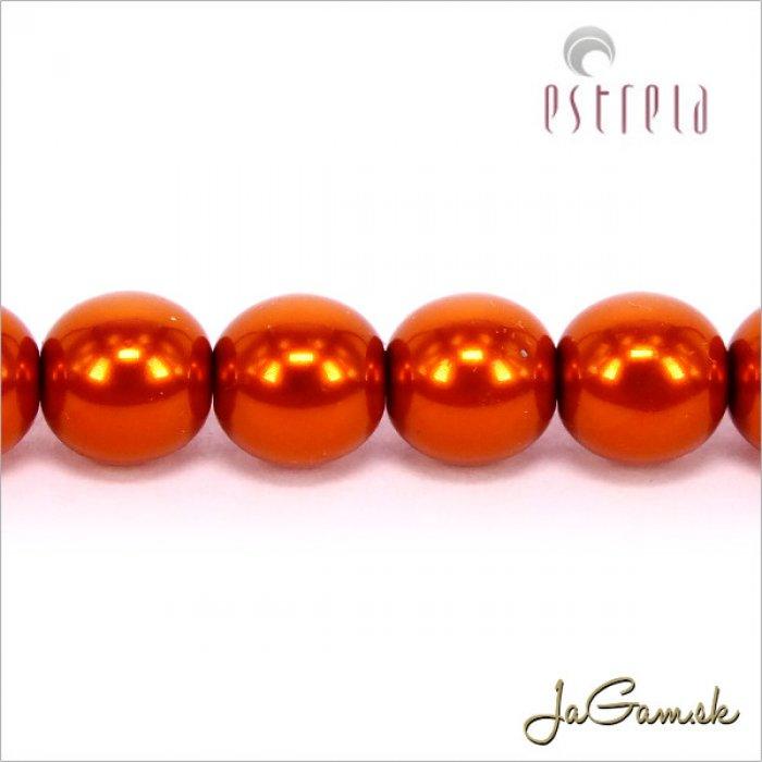 Voskované perly - ESTRELA - oranžová 12879, veľkosť 6 mm, 80 ks (č.6)