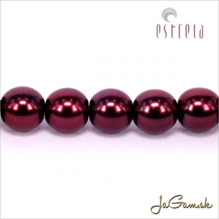 Voskované perly - ESTRELA - červená vínová 12997, veľkosť 6 mm, 20 ks (č.10)