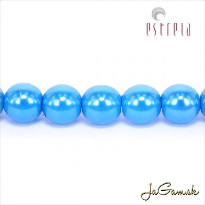 Voskované perly - ESTRELA - modrá azurová  13378, veľkosť 6 mm, 20 ks (č.15)