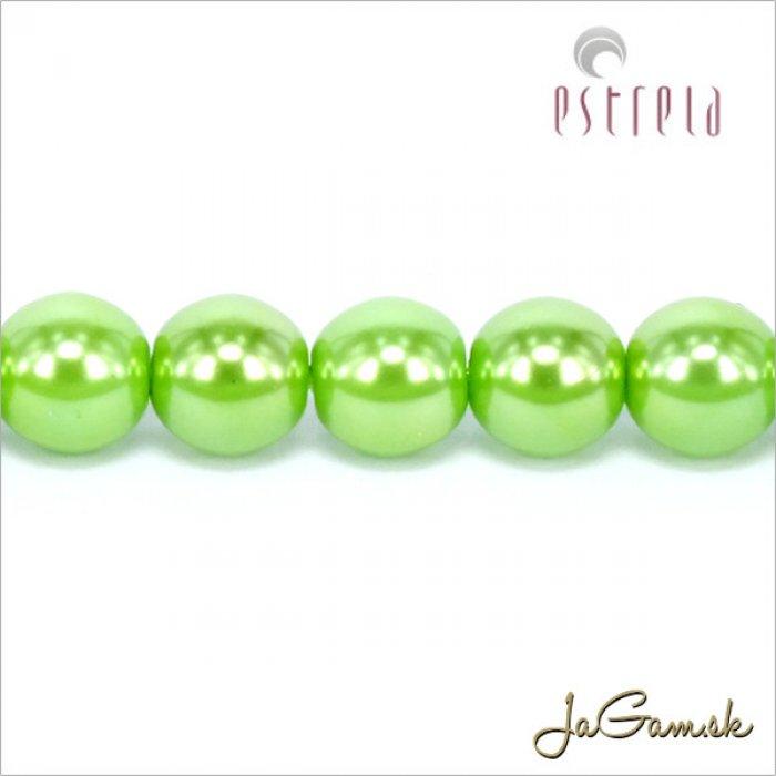 Voskované perly - ESTRELA - zelená 13548, veľkosť 6 mm, 80 ks (č.16)