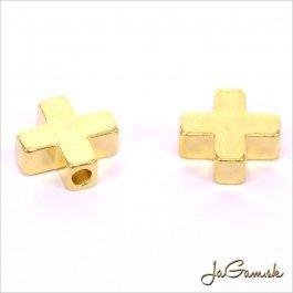 Kovový medzikus krížik 8x8x3mm zlatý 1ks (74_82g)