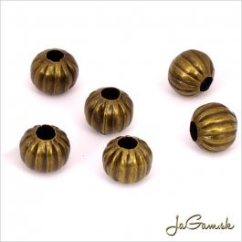 Kovové korálky pruhované 6mm staromosadz 20ks (KK115_20)