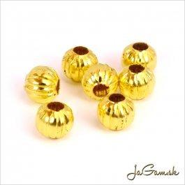 Kovové korálky pruhované 8mm zlaté 20ks (KK118_20)