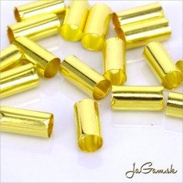 Kovová trubička 10x5mm zlatá, 10ks (kk177)