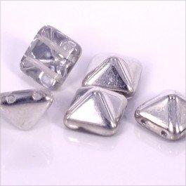 2-dierková pyramída 12x12x8mm, 1ks, strieborná (2/3)