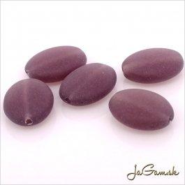 Sklenené korálky oválne 12 x 9 mm, fialová matná 10 ks (20004-4)
