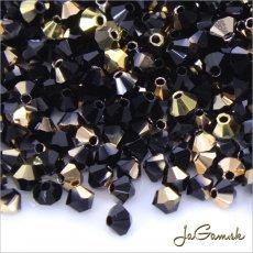 Slniečka 3mm čierna so zlatým pokovom 23980/26441, 30ks (7107mc)