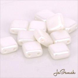 Štvorčeky 2-dierkové 6 x 6 mm, biela matná 20 ks (012/48)