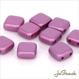 Štvorčeky 2-dierkové 6 x 6 mm, fialová matná 20 ks (016/54)