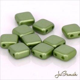 Štvorčeky 2-dierkové 6 x 6 mm, zelená matná 20 ks (019/59)