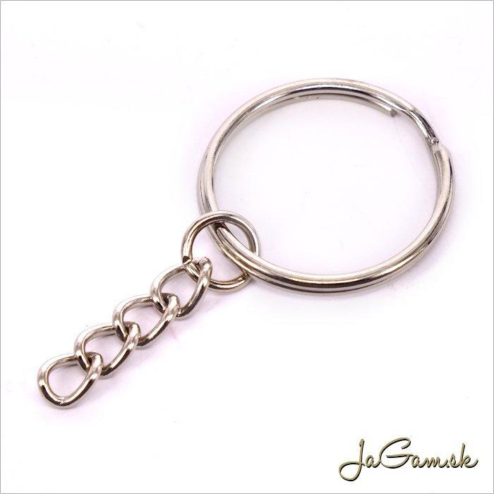 Krúžok na kľúče s retiazkou 25mm, platina, 5ks (kl004)