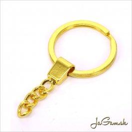 Krúžok na kľúče s retiazkou 25mm, zlatá, 1ks (kl005)