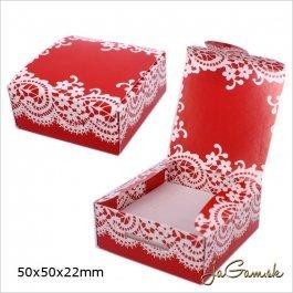 Darčeková krabička 5 x 5 x 2,2 cm červená (k1002)
