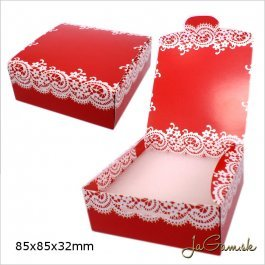 Darčeková krabička 8,5 x 8,5 x 3,2 cm červená (k1006)