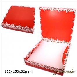 Darčeková krabička 15 x 15 x 3,2 cm červená (k1008)