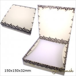 Darčeková krabička 15 x 15 x 3,2 cm krémová (k1007)
