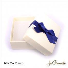 Darčeková krabička 6 x 7,5 x 3,1 cm krémová/ modrá (k1009)