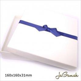 Darčeková krabička 16 x 16 x 3,1 cm krémová/ modrá (k1010)