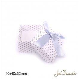 Darčeková krabička 4 x 4 x 3,2 cm biela/ strieborná (k1011)