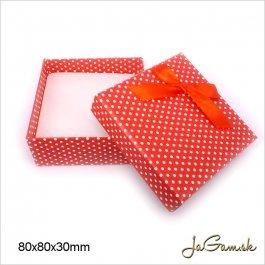Darčeková krabička 8 x 8 x 3 cm červená/ biela (k1015)