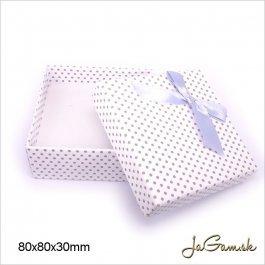 Darčeková krabička 8 x 8 x 3 cm biela/ strieborná (k1014)