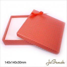 Darčeková krabička 14 x 14 x 3 cm červená/ biela (k1016)