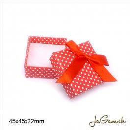 Darčeková krabička 4 x 4 x 3,2 cm biela/ červená (k1012)