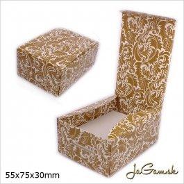 Darčeková krabička 5,5 x 7,5 x 3 cm zlatá/ biela (k1025)