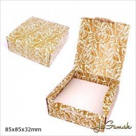 Darčeková krabička 8,5 x 8,5 x 3,2 cm zlatá/ biela (k1020)
