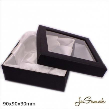 Darčeková krabička 9 x 9 x 3 cm čierna (k1029)