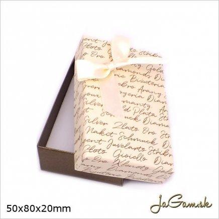 Darčeková krabička 5 x 8 x 2 cm krémová/ hnedá (k1033)