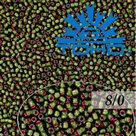 Toho Rokajl 8/0Silver-Lined Frosted Olivine-Pink Lined č.2204 10g
