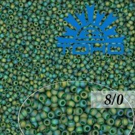 Toho Rokajl 8/0 Trans-Rainbow-Frosted Green Emerald č.179F 10g
