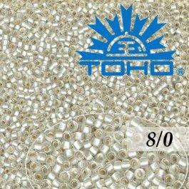 Toho Rokajl 8/0 Silver-Lined Frosted Crystal č.21F 10g
