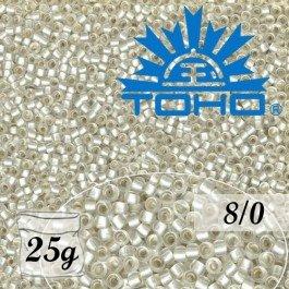 Toho Rokajl 8/0 Silver-Lined Frosted Crystal č.21F 25g