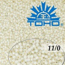 Toho Rokajl 11/0 -Golden-Lined Milky White č.2100 8g